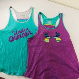 Girls Youth XL Under Armour T Back Tops set of 2